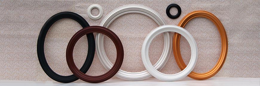 Рамы для зеркал багетные, декоративные из  дерева - круглые и овальные